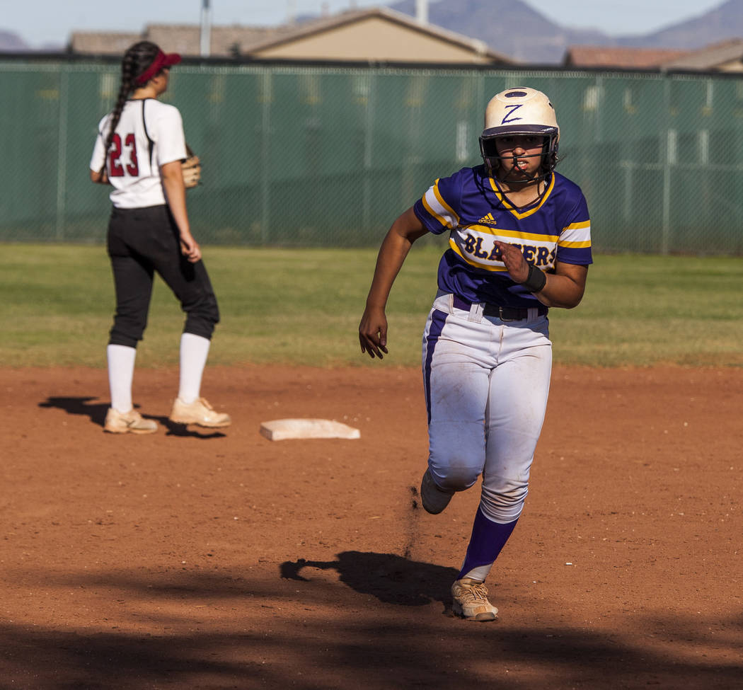 Durango's Avahly Geraldo runs toward third base in the fifth inning while playing against Desert Oasis at Desert Oasis High School in Las Vegas on Thursday, May 3, 2018. Durango won 12-6. Patrick ...