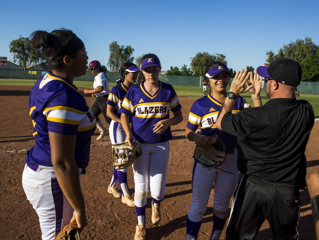 Durango players celebrate after defeating Desert Oasis 12-6 at Desert Oasis High School in Las Vegas on Thursday, May 3, 2018. Patrick Connolly Las Vegas Review-Journal @PConnPie