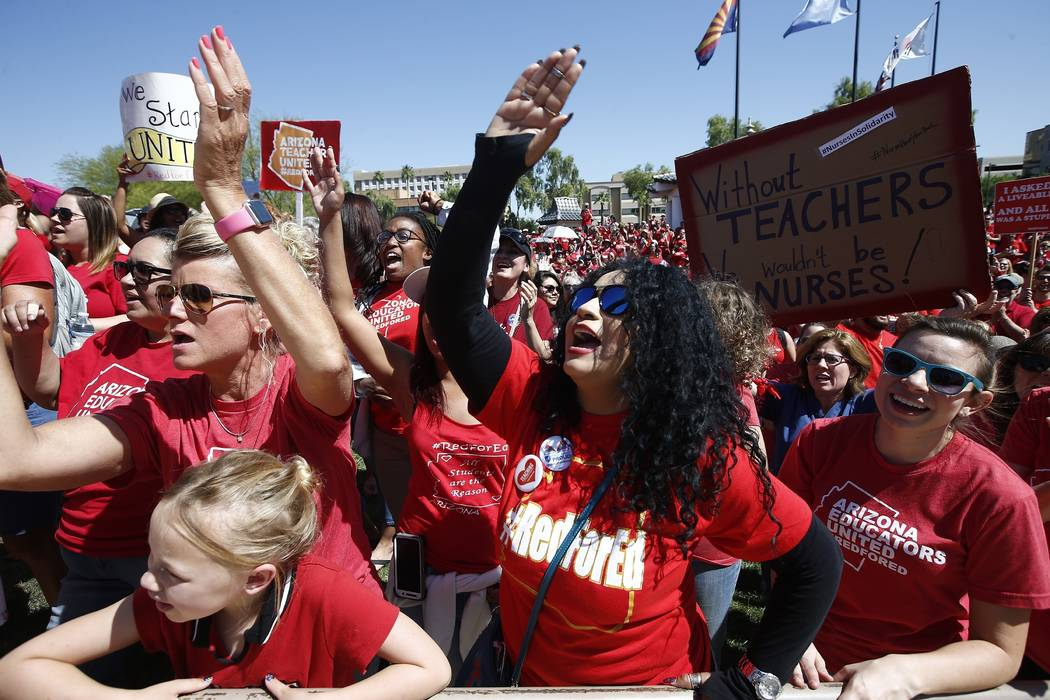 Teachers chant during continued protests at the Arizona Capitol Thursday, May 3, 2018, in Phoenix. (AP Photo/Ross D. Franklin)
