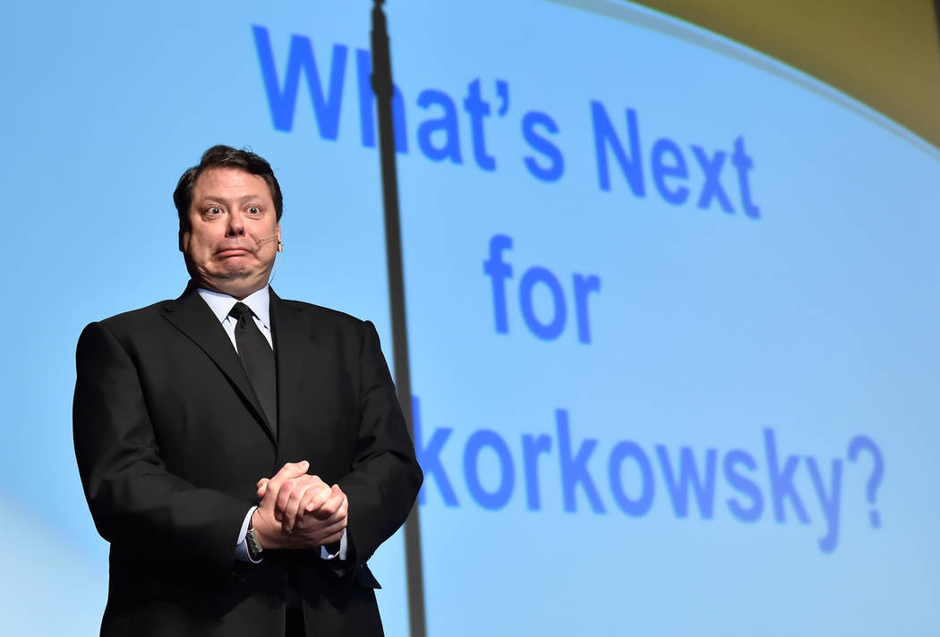 "Clark County School District Superintendent Pat Skorkowsky, reacts as the question was raised, ""what's next?"" after his final state of the schools presentation at Legacy High School Wednesday, Mar ..."