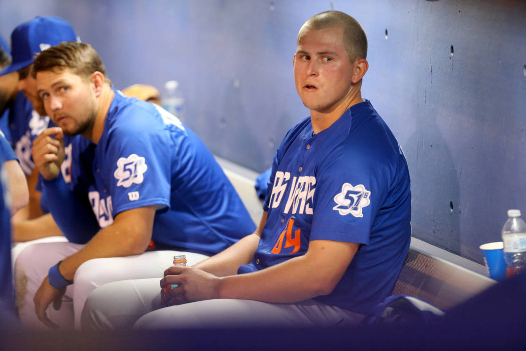 Las Vegas 51s pitcher Chris Flexen rests in the dugout while pitching against the El Paso Chihuahuas at Cashman Field in Las Vegas Monday, April 23, 2018. K.M. Cannon Las Vegas Review-Journal @KMC ...