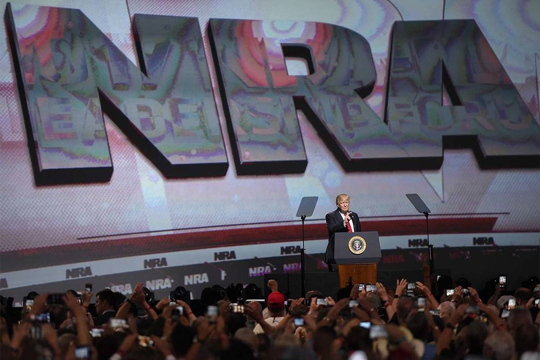 In this April 28, 2017 file photo, President Donald Trump speaks during the National Rifle Association-ILA Leadership Forum, in Atlanta. (Mike Stewar/AP)