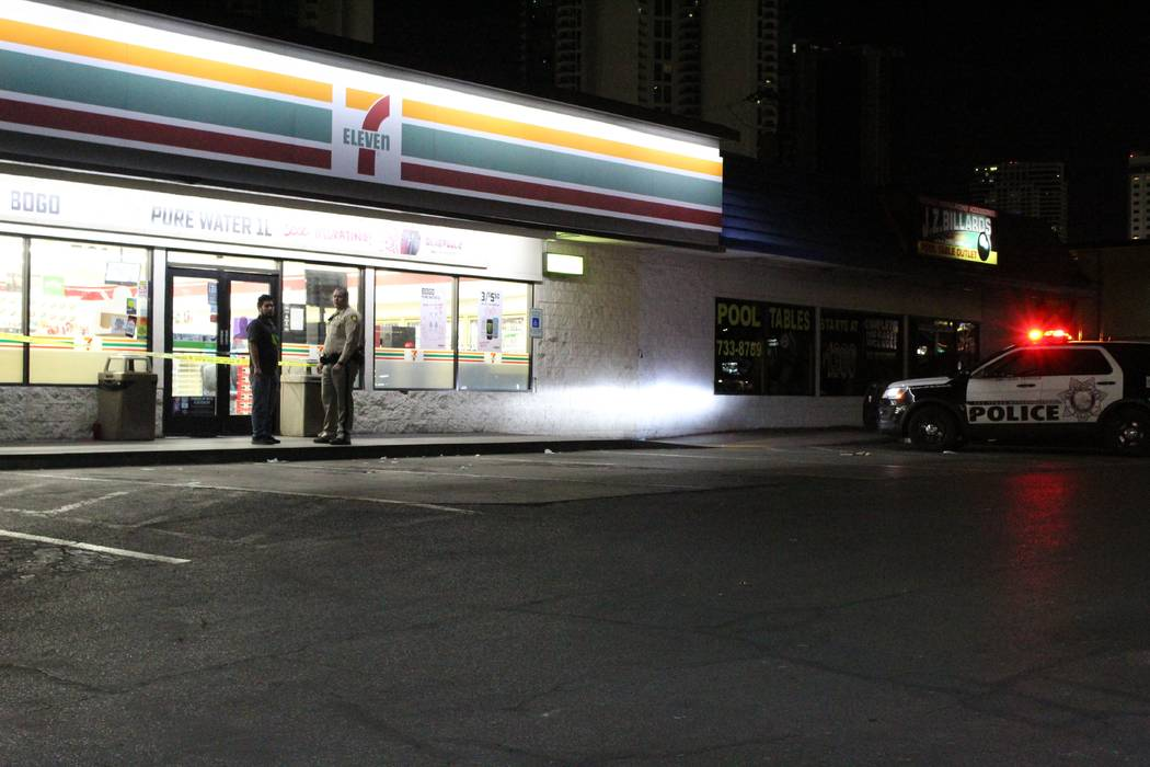A 37-year-old woman, suffering a stab wound to her abdomen, walked into a 7-Eleven at 531 E Sahara Ave., near Paradise Road. (Max Michor/Las Vegas Review-Journal)
