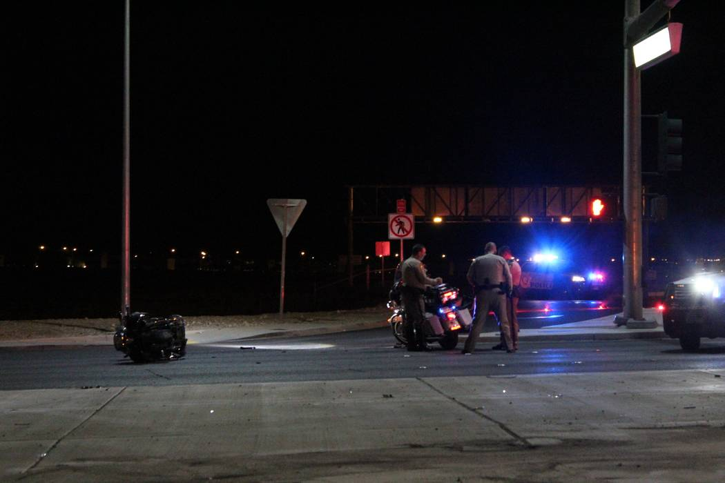 A man was hospitalized with a serious head injury early Friday morning after a motorcycle crash at Durango Drive and the 215 Beltway. (Max Michor/Las Vegas Review-Journal)