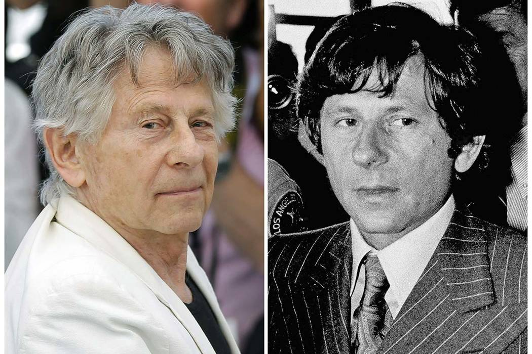"""This combination photo shows director Roman Polanski at the photo call for the film, """"Based On A True Story,"""" at the 70th international film festival, Cannes, southern France, on May 27, 2017, lef ..."""