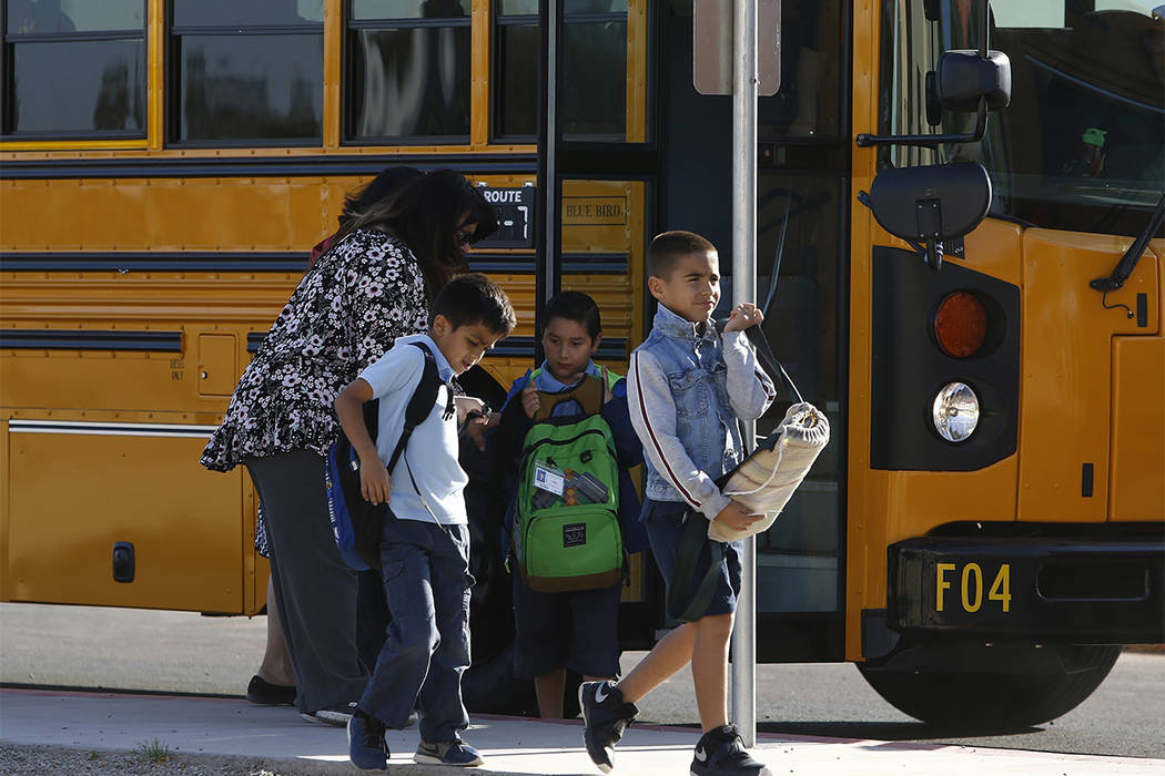 Several Arizona schools resumed classes as students return to Tuscano Elementary School Thursday, May 3, 2018, in Phoenix. Most others returned to school on Friday. (Ross D. Franklin/AP)