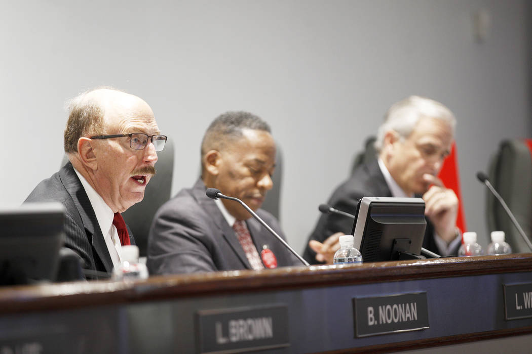 Las Vegas Convention and Visitors Authority member Bill Noonan speaks at a board of directors meeting at the Las Vegas Convention Center in Las Vegas, Tuesday, May 8, 2018. Rachel Aston Las Vegas ...