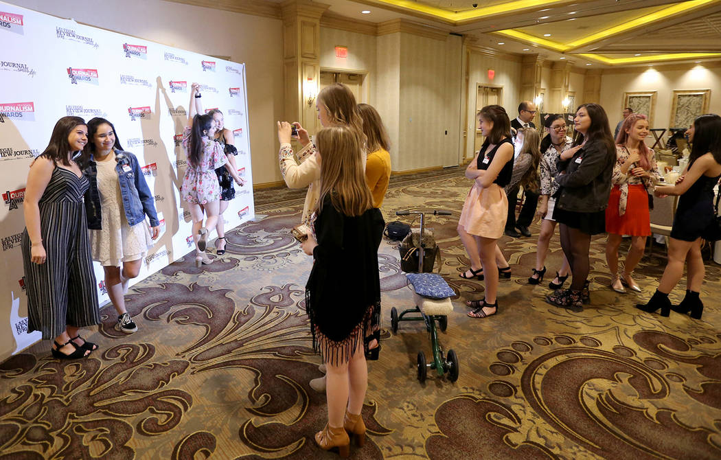 Green Valley High School students Jenna Ricciardi, left, and Gabriella Ghasserani pose at the Las Vegas Review-Journal High School Journalism Awards at the Suncoast in Las Vegas Monday, May 7, 201 ...