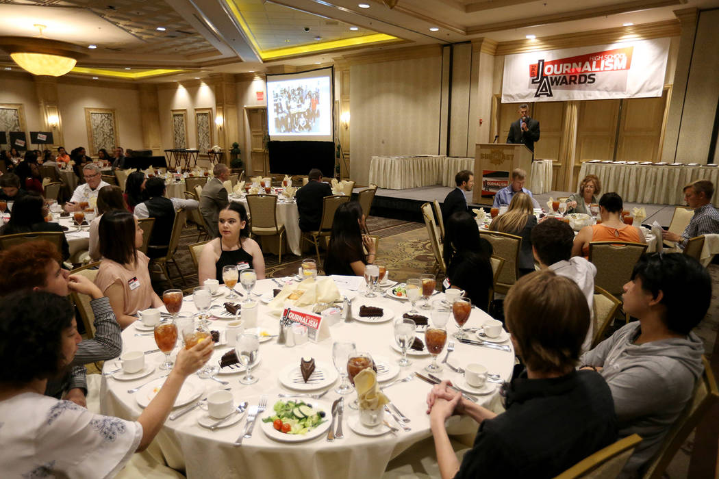 Executive Editor Glenn Cook speaks at the Las Vegas Review-Journal High School Journalism Awards at the Suncoast in Las Vegas Monday, May 7, 2018. K.M. Cannon Las Vegas Review-Journal @KMCannonPhoto