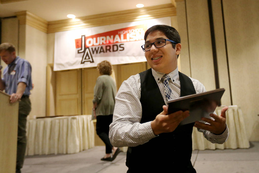 Andrew Mendez of Spring Valley High School receives his award for Best Headline at the Las Vegas Review-Journal High School Journalism Awards at the Suncoast in Las Vegas Monday, May 7, 2018. K.M. ...