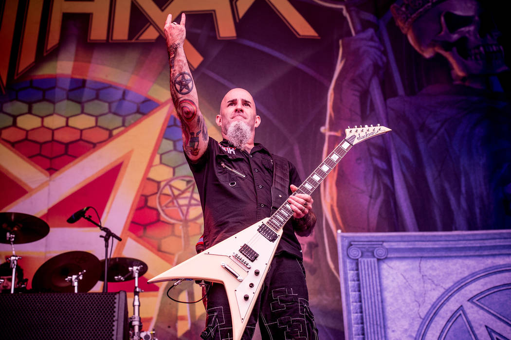 Scott Ian of Anthrax performs at the Louder Than Life Festival on Saturday, Oct. 1, 2016, in Louisville, Ky. (Photo by Amy Harris/Invision/AP)