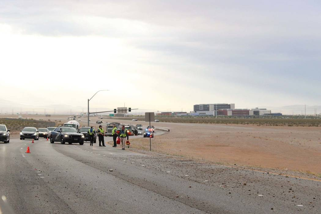 Nevada Highway Patrol investigates after a 48-year-old man was killed in a single-vehicle rollover crash on the 215 Beltway and Losee Road in North Las Vegas, Tuesday morning, May 1, 2018. (Max Mi ...