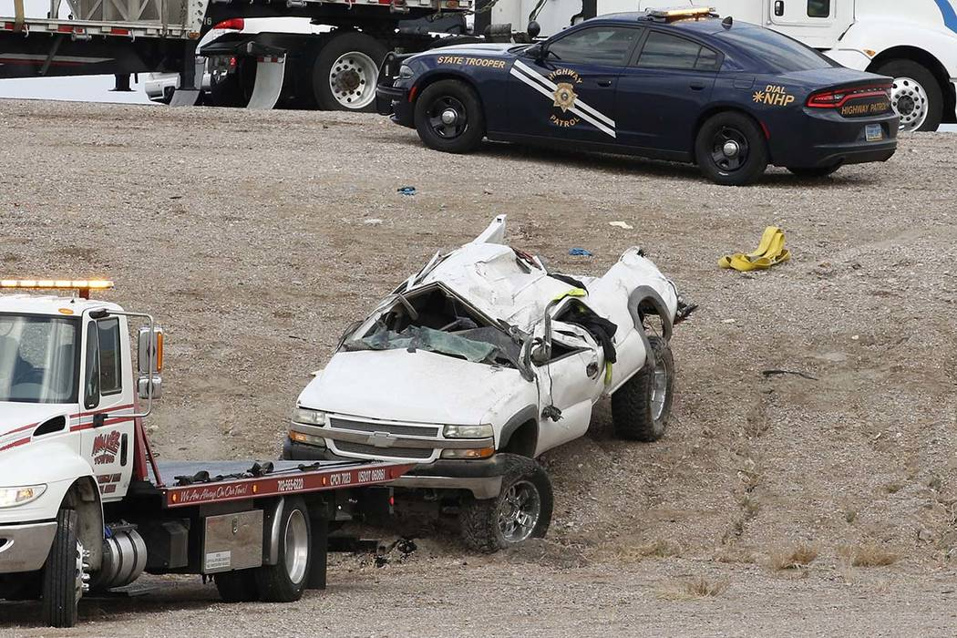 A 48-year-old man was killed in a single-vehicle rollover crash on the 215 Beltway and Losee Road in North Las Vegas on Tuesday, May 1, 2018. Bizuayehu Tesfaye/Las Vegas Review-Journal @bizutesfaye