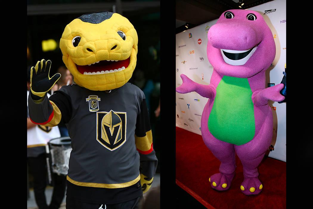 Vegas Golden Knights mascot Chance (left), Barney the Dinosaur (Chase Stevens/Las Vegas Review-Journal, AP)