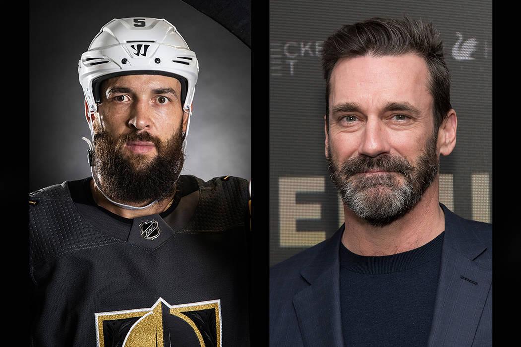 Vegas Golden Knights defenseman Deryk Engelland (left), Jon Hamm (Benjamin Hager/Las Vegas Review-Journal, AP)