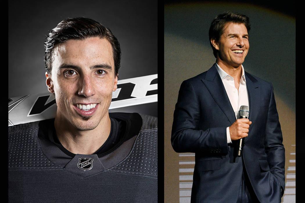 Vegas Golden Knights goaltender Marc-Andre Fleury (left), Tom Cruise (Benjamin Hager/Las Vegas Review-Journal, AP)