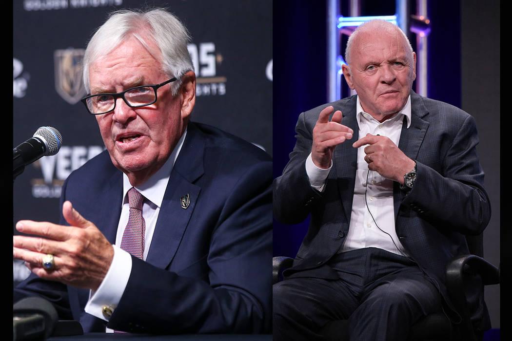 Vegas Golden Knights owner Bill Foley (left), Anthony Hopkins (Chase Stevens/Las Vegas Review-Journal, AP)