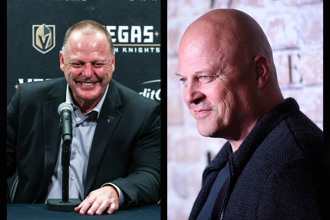 Vegas Golden Knights head coach Gerard Gallant (left), Actor Michael Chiklis (Joel Angel Juarez/Las Vegas Review-Journal, AP)