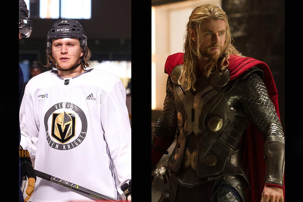 "Vegas Golden Knights center William Karlsson,""Marvel's Thor: The Dark World"", Thor (Chris Hemsworth). (Richard Brian/Las Vegas Review-Journal, ,Jay Maidment..© 2013 MVLFFLLC. TM & © 2013 Marvel. ..."