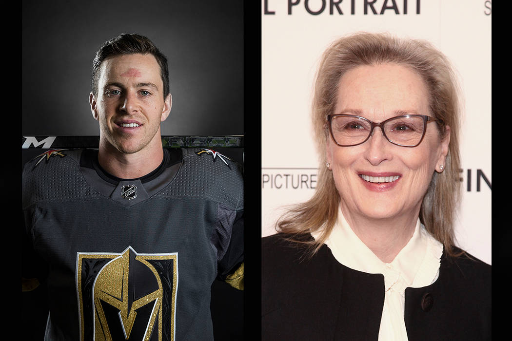 Vegas Golden Knights forward Jonathan Marchessault (left), Meryl Streep (Benjamin Hager/Las Vegas Review-Journal, AP)