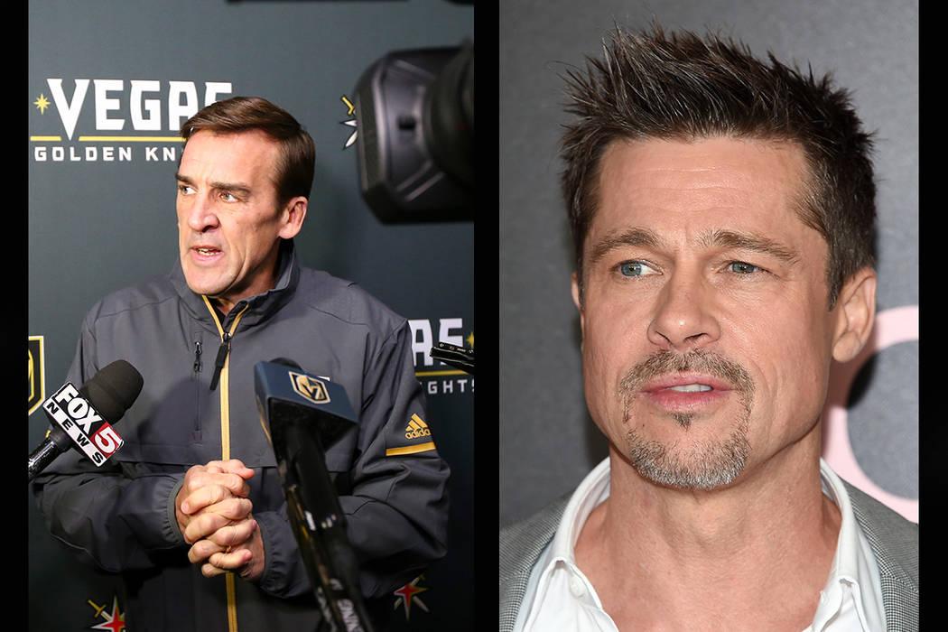 Vegas Golden Knights general manager George McPhee (left) and Brad Pitt. (Chase Stevens/Las Vegas Review-Journal, AP)