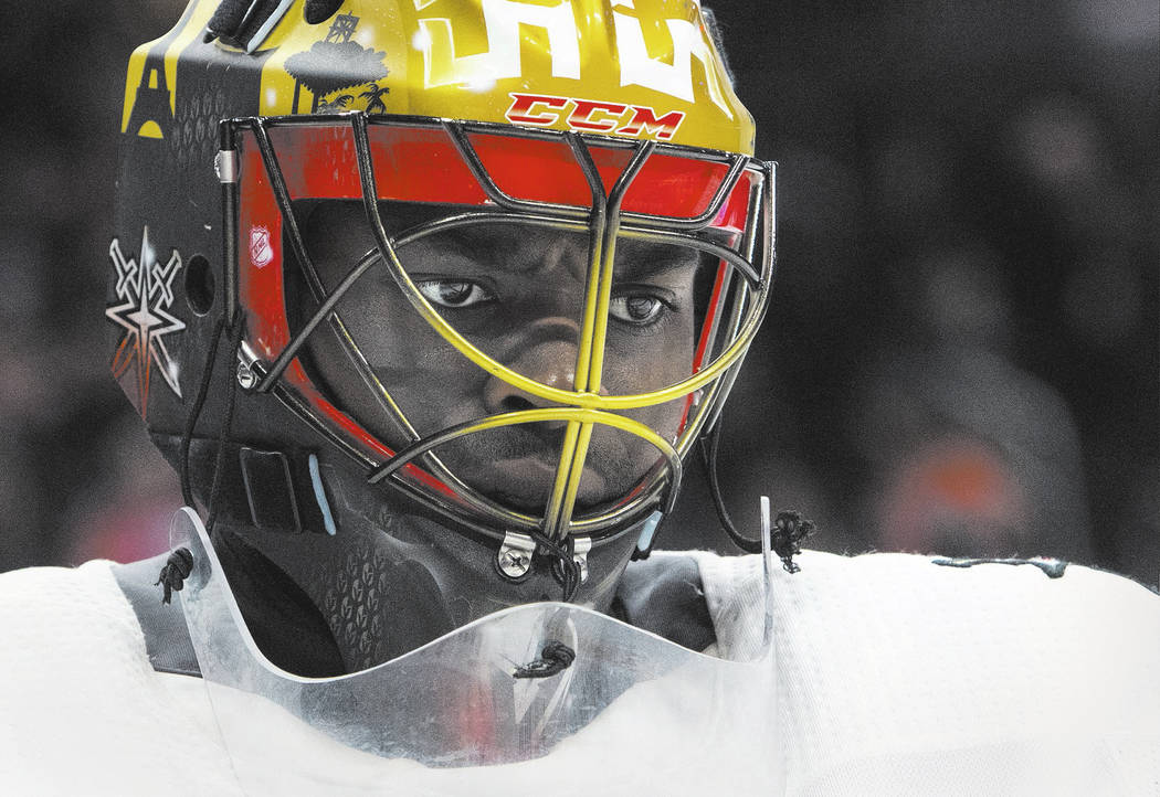 Vegas Golden Knights goalie Malcolm Subban (30) looks on during second-period NHL hockey game action against the Edmonton Oilers in Edmonton, Alberta, Thursday, April 5, 2018. (Amber Bracken/The C ...