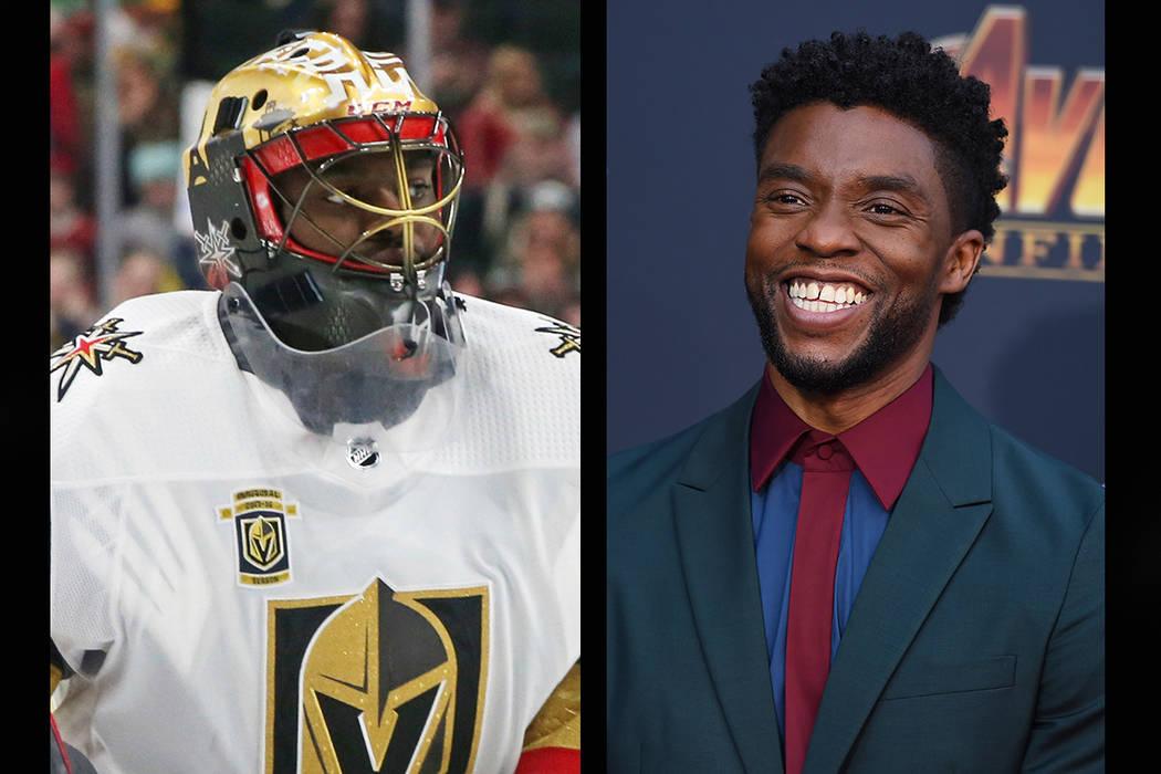 Vegas Golden Knights goaltender Malcolm Subban (left), Chadwick Boseman (AP)