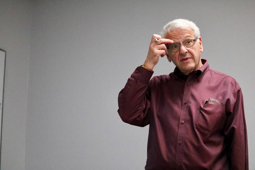 Professor Bernard Malamud teaches a review lesson on the before final exams in his History of Economic Thought class at the Lee Business School at UNLV in Las Vegas, Thursday, May 3, 2018. Malamud ...