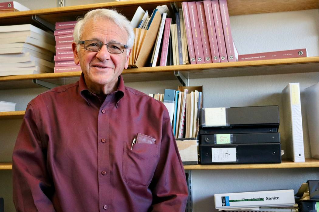 Professor Bernard Malamud in his office at the Lee Business School at UNLV in Las Vegas, Thursday, May 3, 2018. Malamud is retiring this year after beginning his teaching career at UNLV 50 years a ...