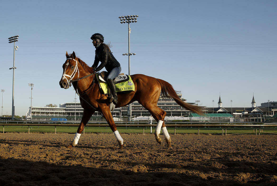 Kentucky Derby hopeful Vino Rosso runs during a morning workout at Churchill Downs Tuesday, May 1, 2018, in Louisville, Ky. The 144th running of the Kentucky Derby is scheduled for Saturday, May 5 ...