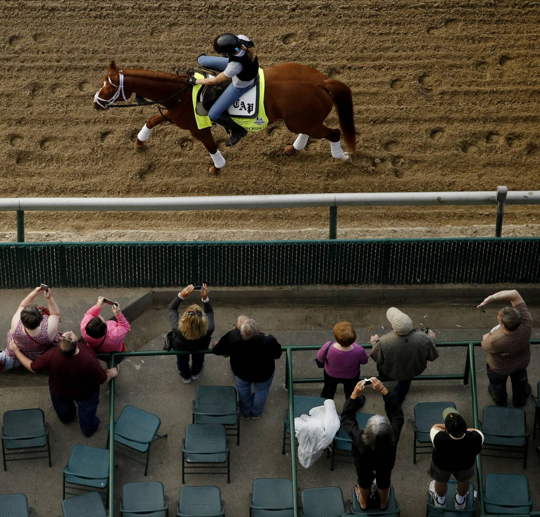 Kentucky Derby entrant Vino Rosso trains during a morning workout at Churchill Downs Wednesday, May 2, 2018, in Louisville, Ky. The 144th running of the Kentucky Derby is scheduled for Saturday, M ...