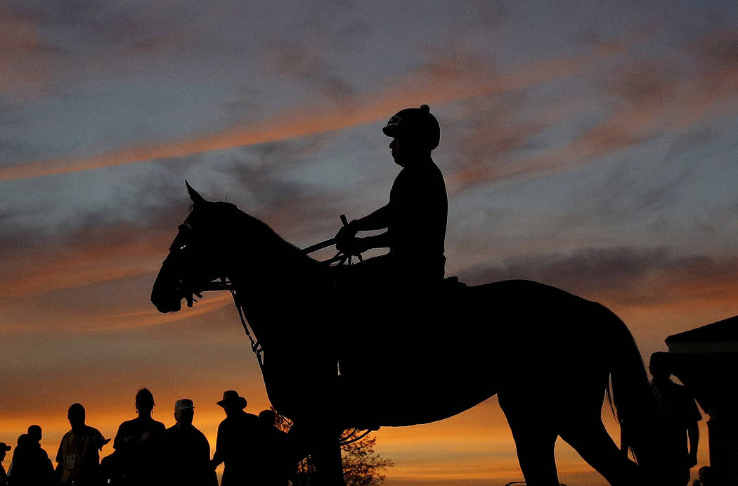 A horse and rider are silhouetted against a pre-dawn sky as they head for the track for a morning workout at Churchill Downs Wednesday, May 2, 2018, in Louisville, Ky. The 144th running of the Ken ...