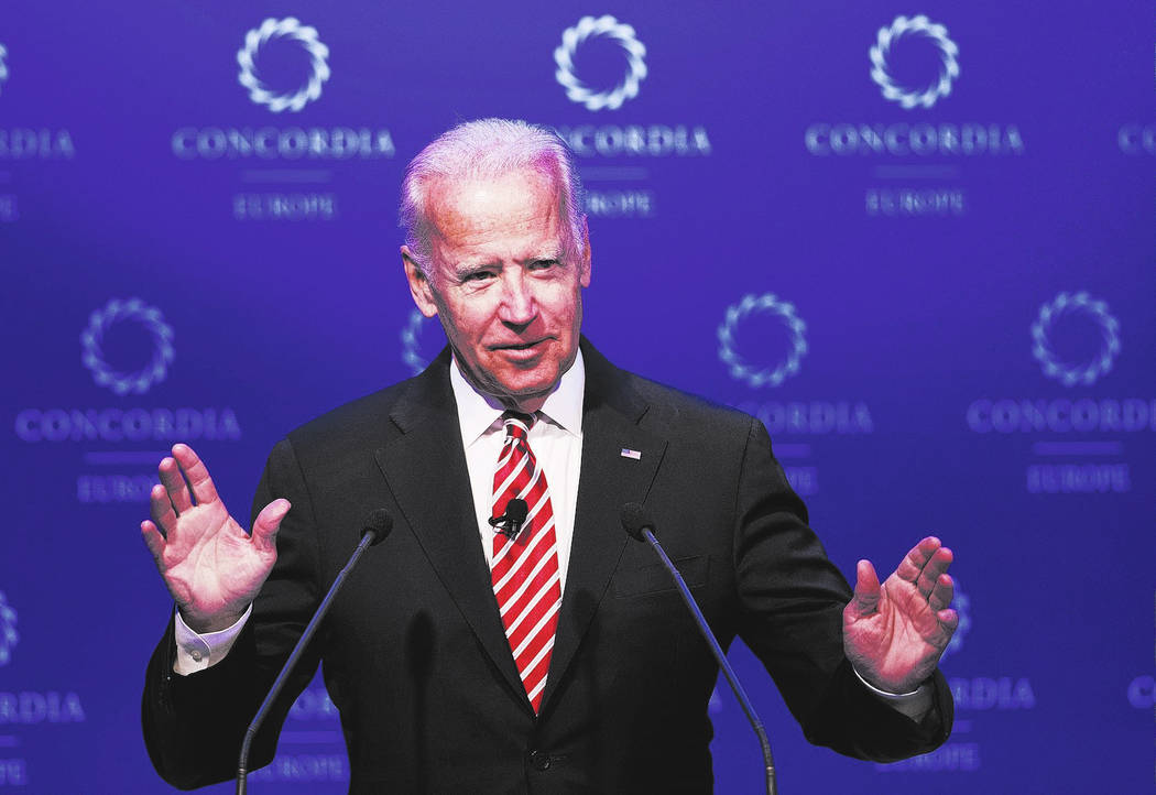 FILE- In this June 7, 2017, file photo, former U.S. Vice President Joe Biden speaks during a conference in Athens. Biden is tiptoeing toward a potential run in 2020, even broaching the possibility ...
