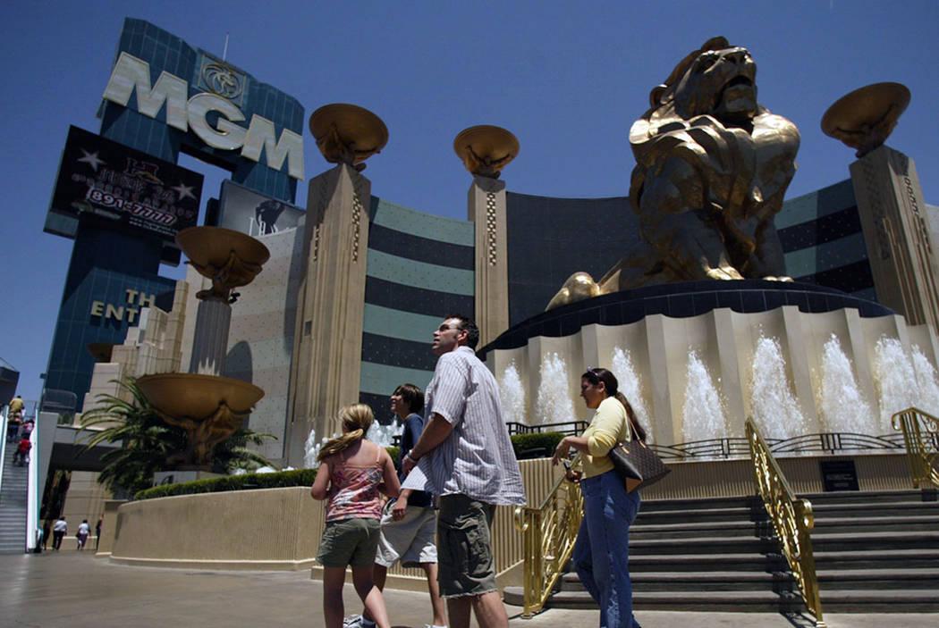 Pedestrians on the Strip walk past the MGM Grand in 2004. (AP Photo/Joe Cavaretta)
