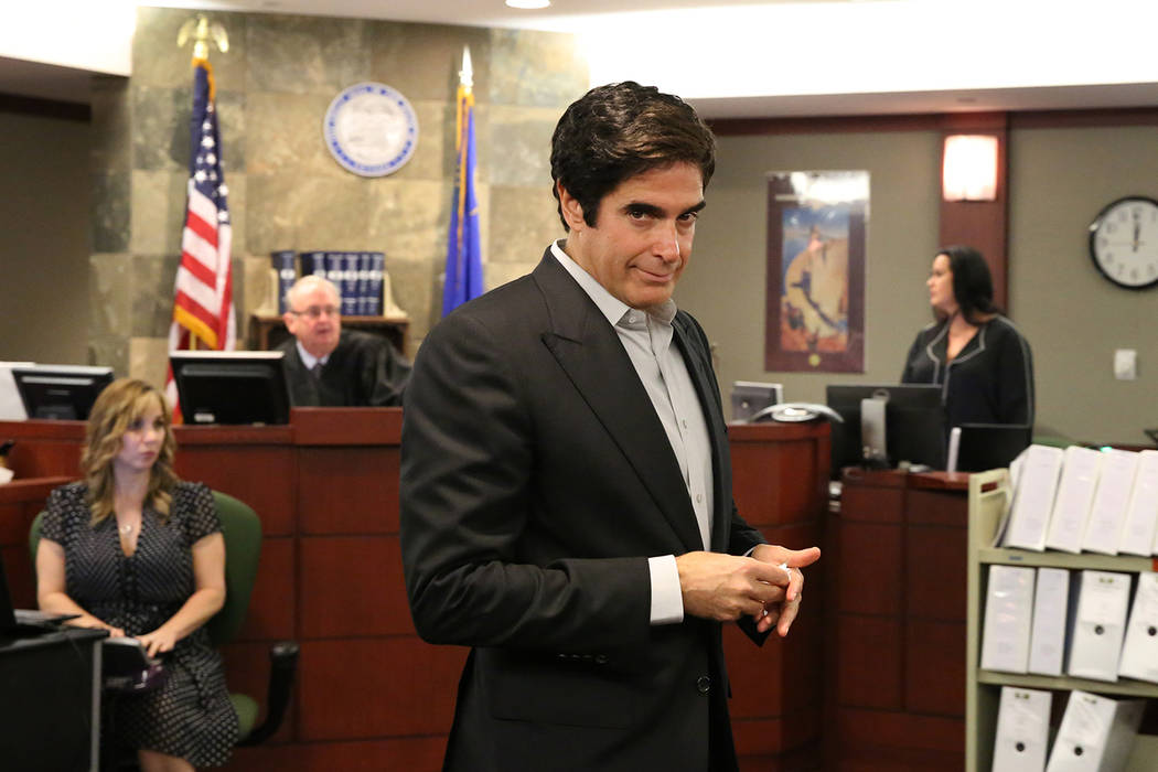 Magician David Copperfield leaves the courtroom after taking the stand during his civil trial at the Regional Justice Center on Tuesday, April 24, 2018, in Las Vegas. Bizuayehu Tesfaye/Las Vegas R ...