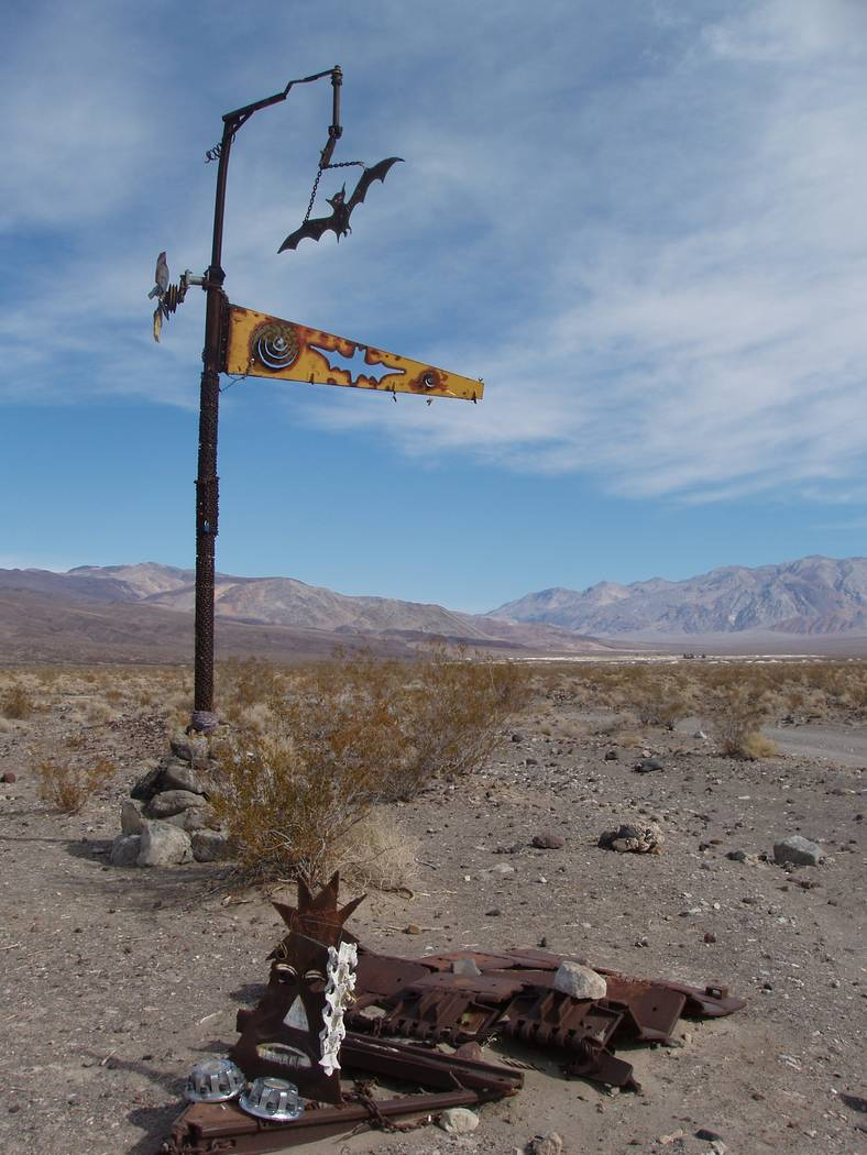 A sculpture known as the Bat Pole marks the way to the Saline Valley Warm Springs in Death Valley National Park. National Park Service