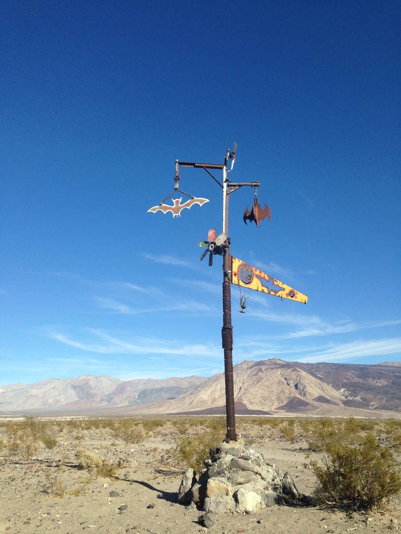 A sculpture known as the Bat Pole marks the way to Saline Valley Warms Springs at Death ValleyNational Park on Jan. 17, 2015. Henry Brean Las Vegas Review-Journal