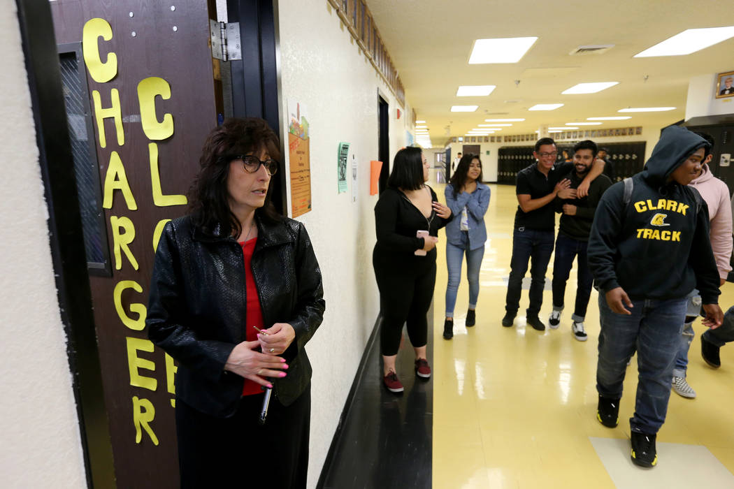 Clark High School teacher Luanne Wagner shows the Charger Closet during meeting of the KEEN Club Wednesday, May 2, 2018. Wagner is the club advisor for Keeping Everyone's Eyes on the Neighborhood, ...