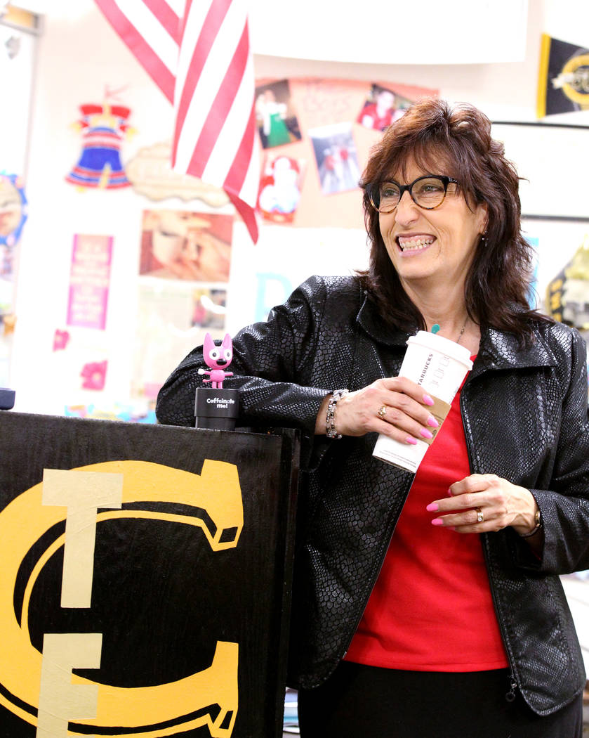 Clark High School teacher Luanne Wagner during a meeting of the KEEN Club Wednesday, May 2, 2018. Wagner is the club advisor for Keeping Everyone's Eyes on the Neighborhood, which provides food, s ...