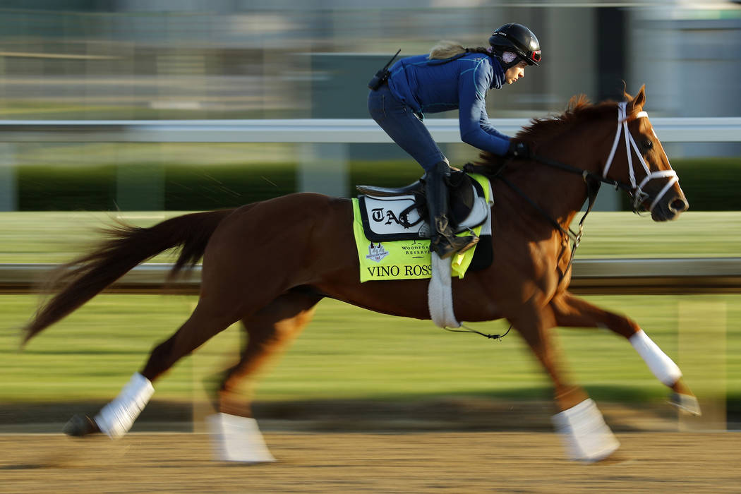 Kentucky Derby hopeful Vino Rosso trains at Churchill Downs Monday, April 30, 2018, in Louisville, Ky. The 144th running of the Kentucky Derby is scheduled for Saturday, May 5. (AP Photo/Charlie R ...