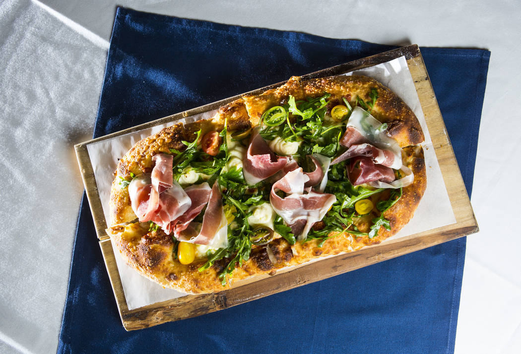 The Vegas Meets Italy pizza at Pizzeria Monzu, 6020 W. Flamingo Road, in Las Vegas on Saturday, May 5, 2018. Chase Stevens Las Vegas Review-Journal @csstevensphoto