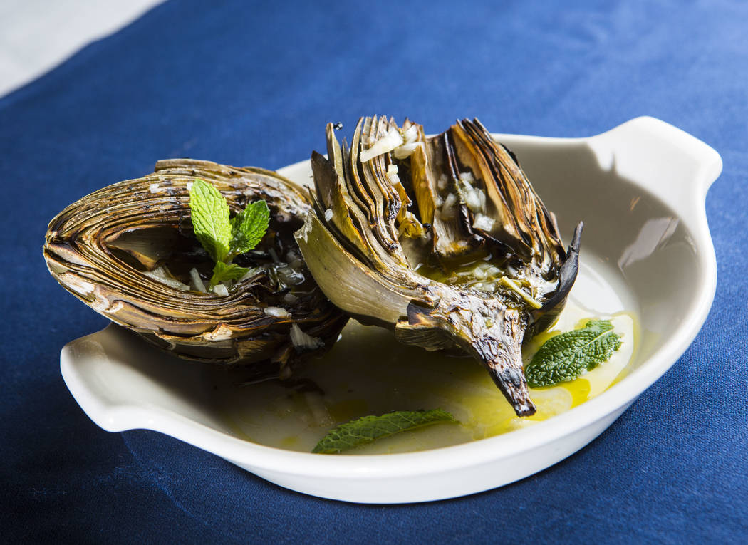 Grilled artichokes at Pizzeria Monzu, 6020 W. Flamingo Road, in Las Vegas on Saturday, May 5, 2018. Chase Stevens Las Vegas Review-Journal @csstevensphoto