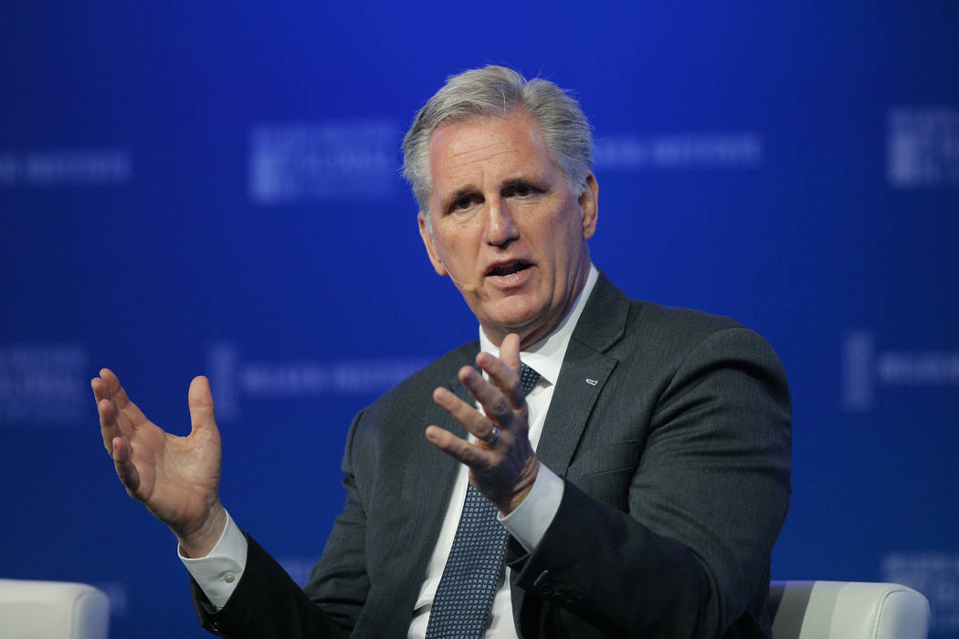 House Majority Leader Kevin McCarthy, R-Calif., speaks at the Milken Institute Global Conference Monday, April 30, 2018, in Beverly Hills, Calif. (AP Photo/Jae C. Hong)