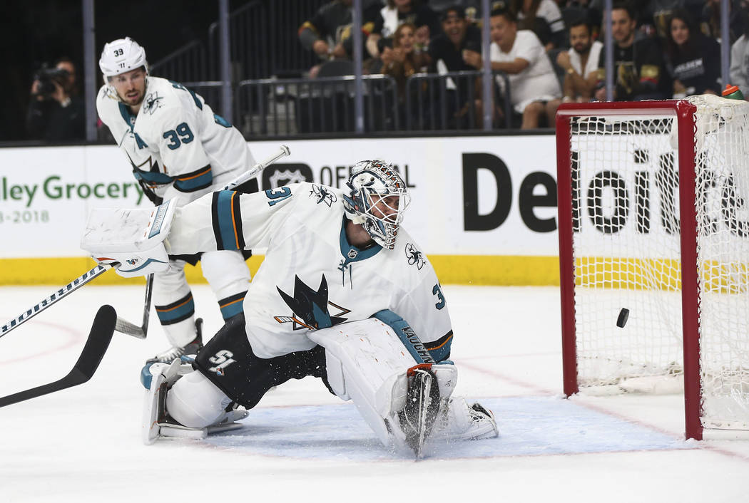 Golden Knights left wing James Neal, not pictured, scores a goal past San Jose Sharks goaltender Martin Jones (31) during the first period of Game 5 of an NHL hockey second-round playoff series at ...