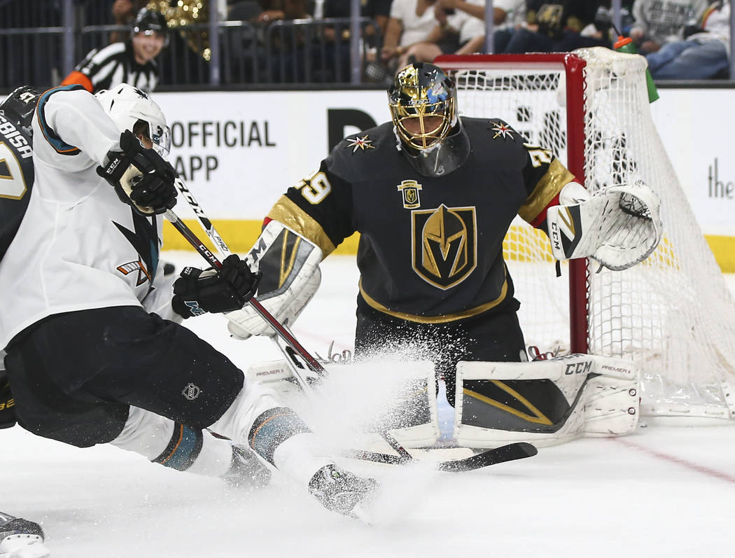 San Jose Sharks left wing Marcus Sorensen (20) tries to score against Golden Knights goaltender Marc-Andre Fleury (29) during the second period of Game 5 of an NHL hockey second-round playoff seri ...