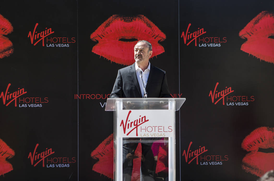 "Virgin Group Partner and Property CEO Richard ""Boz"" Bosworth speaks at a press conference at the Hard Rock Hotel in Las Vegas on Friday, March 30, 2018. Patrick Connolly Las Vegas Revie ..."