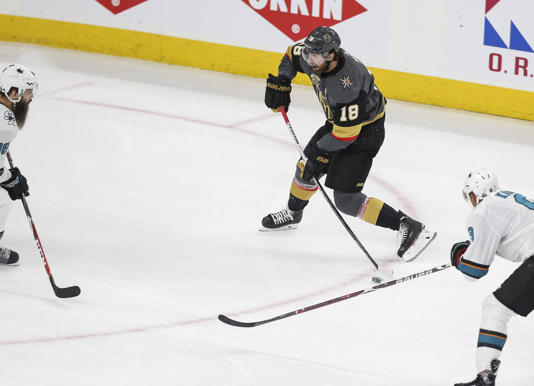 Golden Knights left wing James Neal (18) takes a shot on goal against the San Jose Sharks during the first period of Game 5 of an NHL hockey second-round playoff series at T-Mobile Arena in Las Ve ...