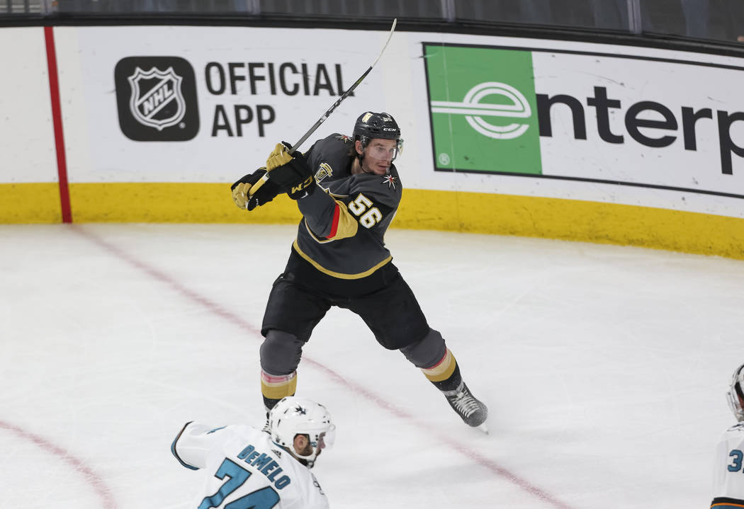 Golden Knights left wing Erik Haula (56) shoots for a goal against the San Jose Sharks during the second period of Game 5 of an NHL hockey second-round playoff series at T-Mobile Arena in Las Vega ...