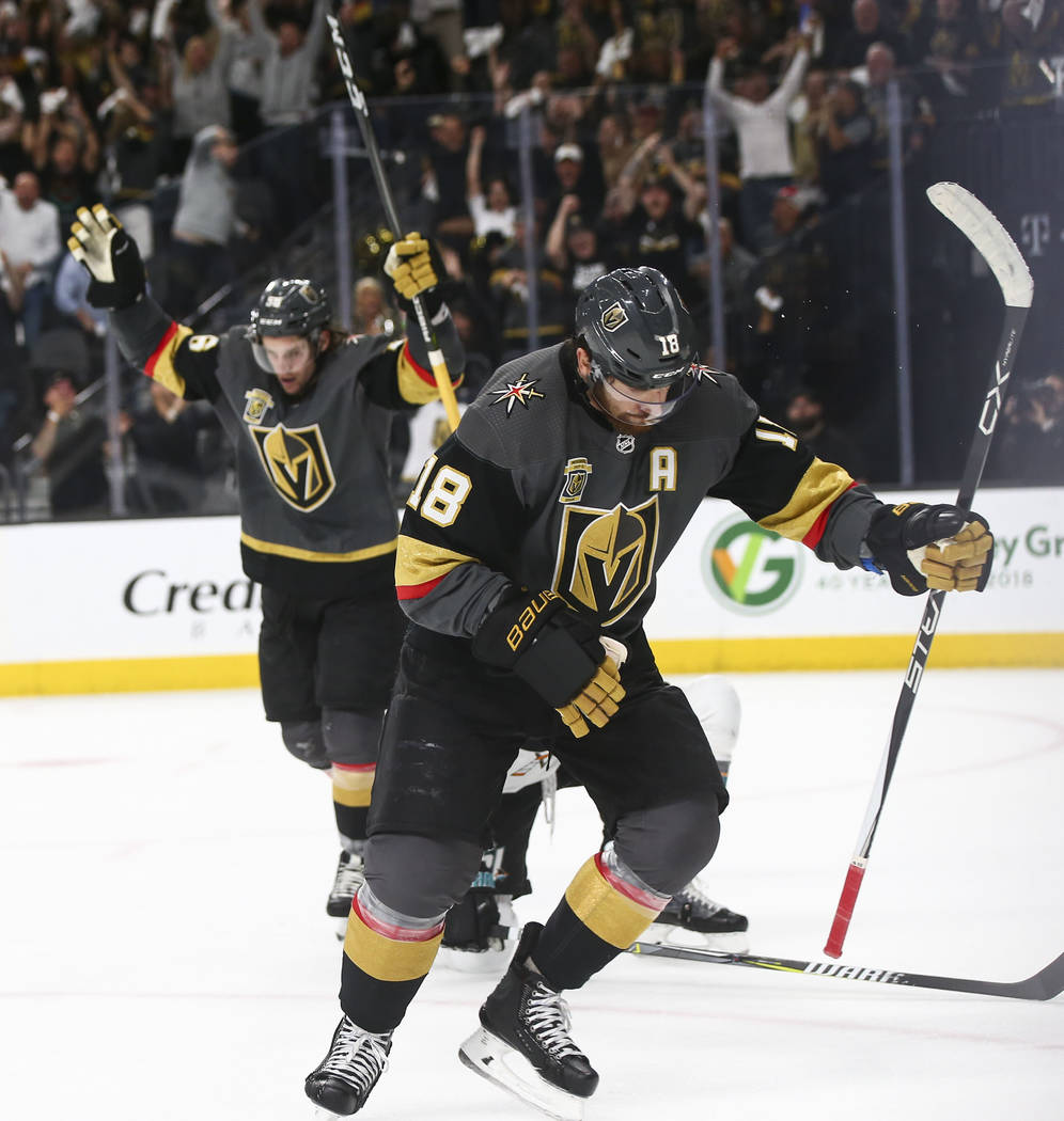 Golden Knights left wing James Neal (18) celebrates his goal against the San Jose Sharks during the first period of Game 5 of an NHL hockey second-round playoff series at T-Mobile Arena in Las Veg ...