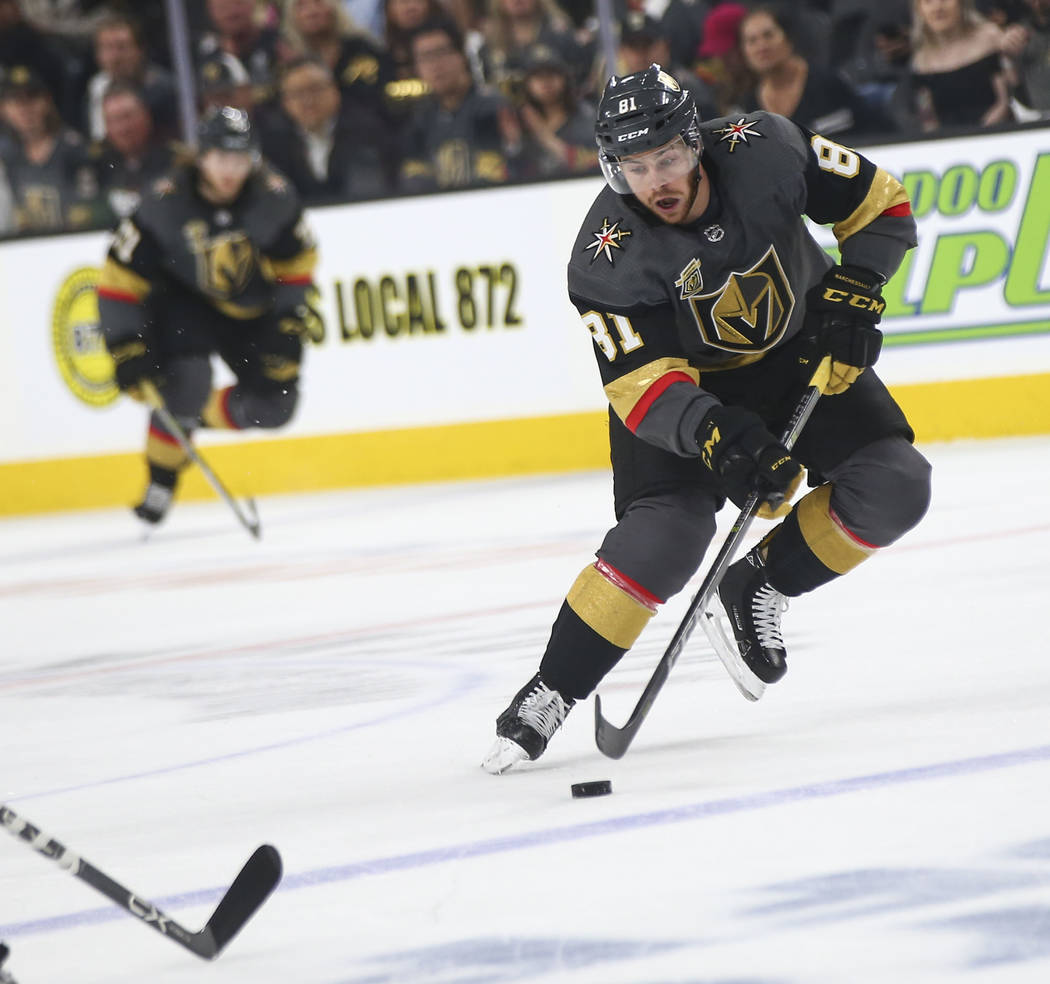 Golden Knights center Jonathan Marchessault (81) moves the puck against the San Jose Sharks during the first period of Game 5 of an NHL hockey second-round playoff series at T-Mobile Arena in Las ...